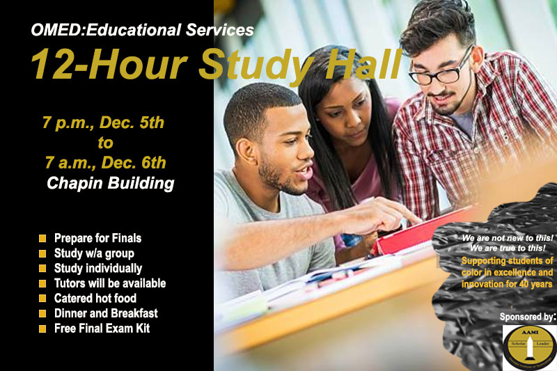 12 hour study session chapin Dec 5 and 6 7pm to 7am