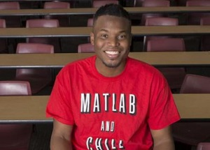 Kantwon rogers with a red shirt on that reads matlab and chill