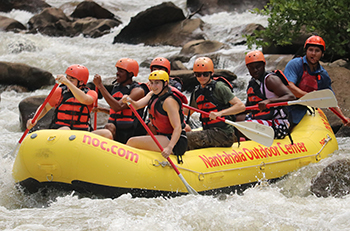 student white water rafting